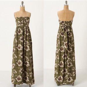 Anthro edmè & esyllte floral maxi dress strapless